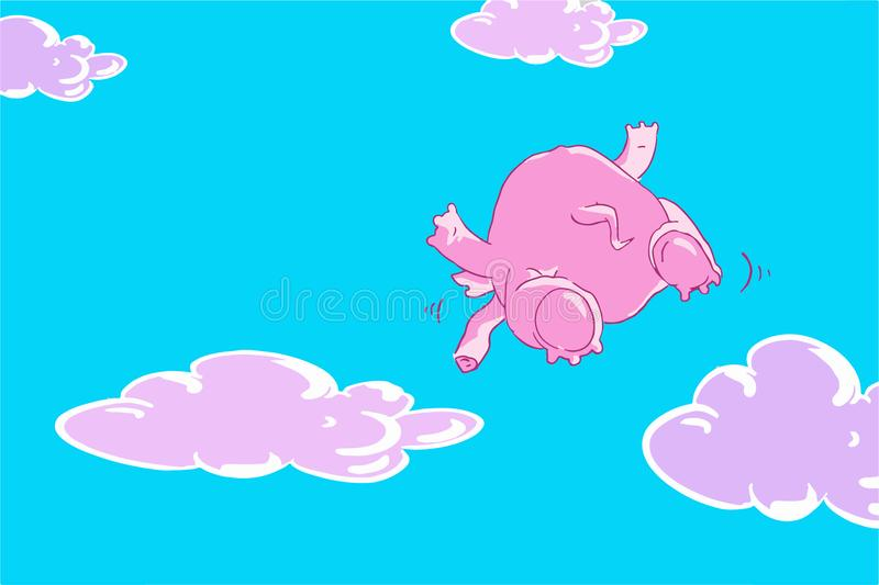 Funny cartoon pink elephant flying in the blue sky with lilac clouds vector illustration
