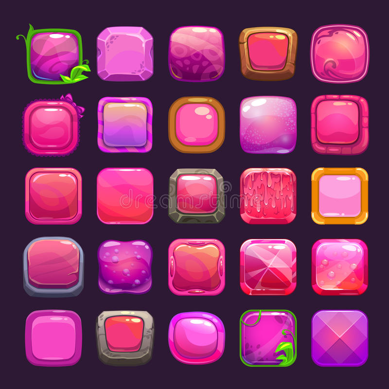 Funny cartoon pink square buttons collection vector illustration