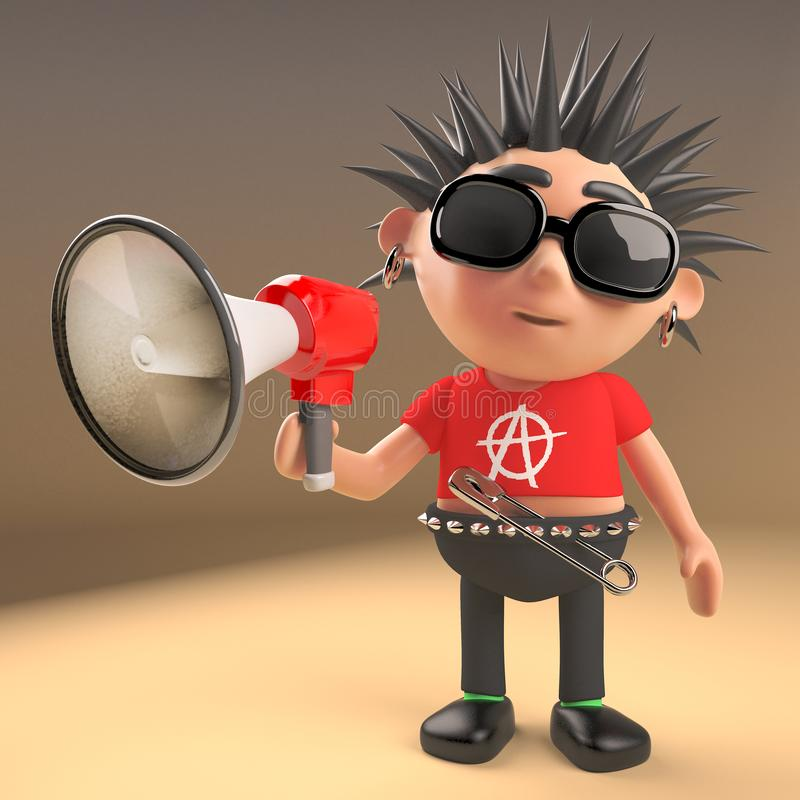 Funny cartoon punk rocker character using a megaphone loudhailer, 3d illustration. Render stock illustration