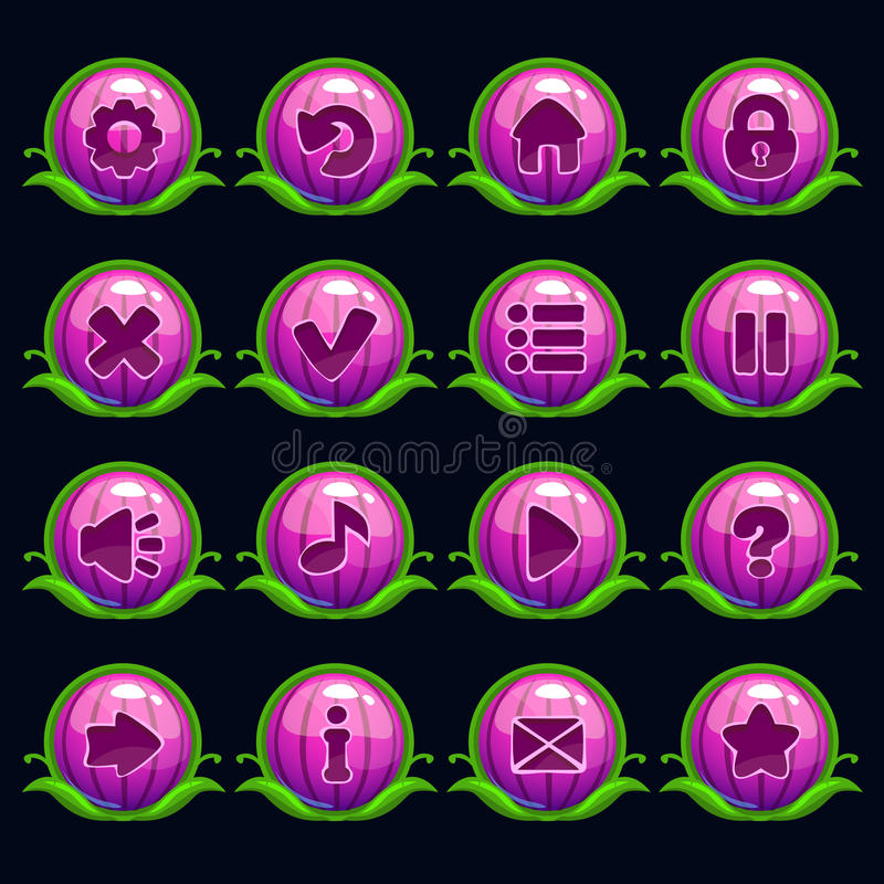 Funny cartoon purple round menu buttons. Set, kit for game or web design royalty free illustration