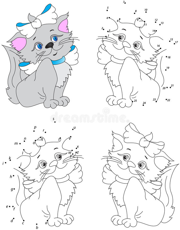 Free Funny Cartoon Pussycat. Vector Illustration. Coloring And Dot To Stock Images - 65035454