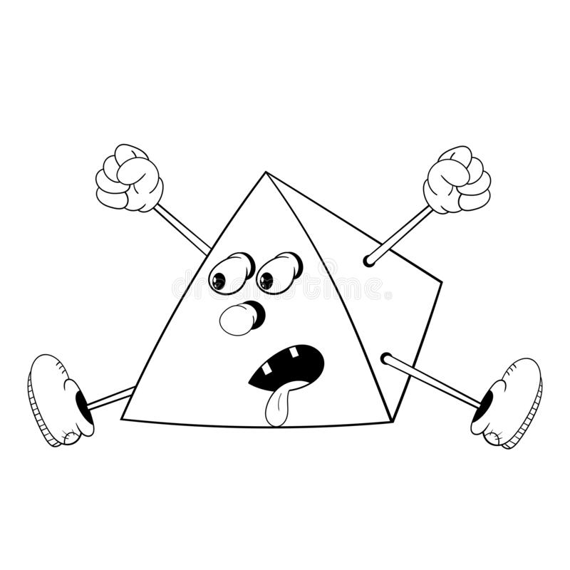 Funny cartoon pyramid with eyes, arms and legs in the shoes screaming and jumping stuck his tongue. Black and white coloring royalty free illustration