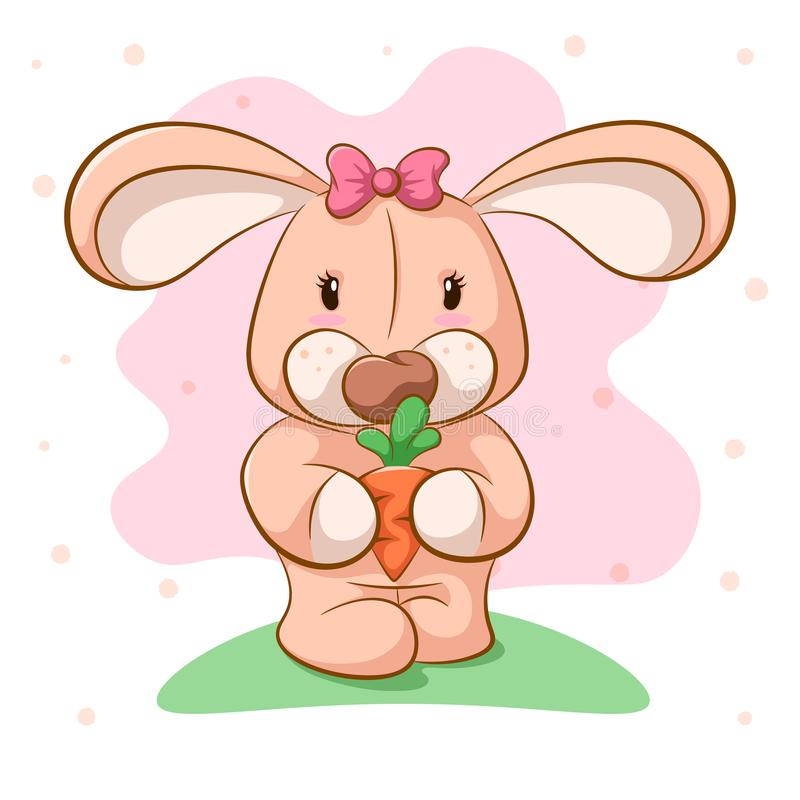 Funny cartoon rabbit with carrot. Vector eps 10 royalty free illustration