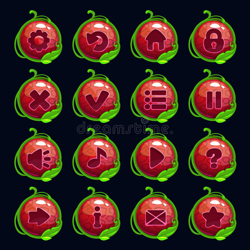 Funny cartoon red round menu buttons. Set, kit for game or web design stock illustration