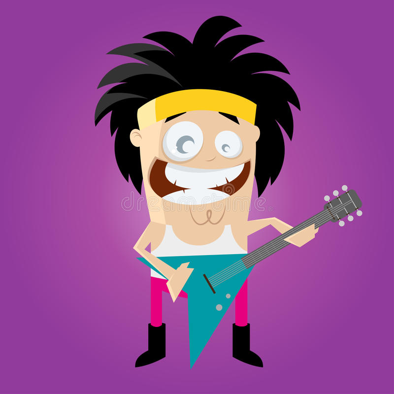 Funny cartoon rocker. Illustration of a funny cartoon glam rocker vector illustration