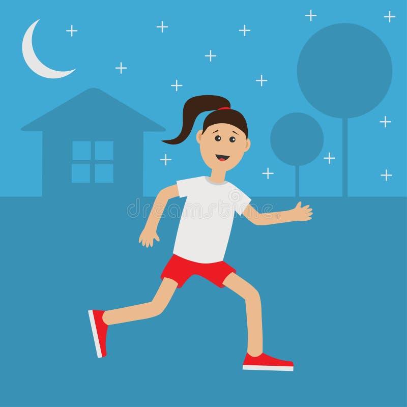 Funny cartoon running girl Cute run woman Night summer time. House, tree silhouette. Stars shining. Jogging lady Runner Fitness. Funny cartoon running girl Cute royalty free illustration