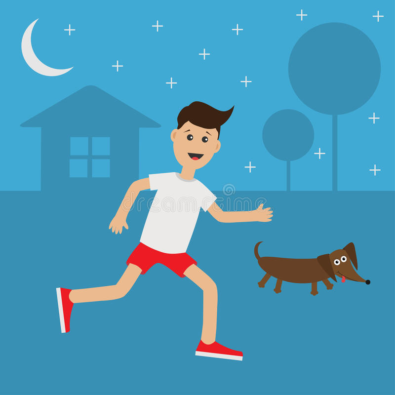 Funny cartoon running guy Dachshund dog. Night summer time. House, tree silhouette. Funny cartoon running guy Dachshund dog. Night summer time. House, tree stock illustration