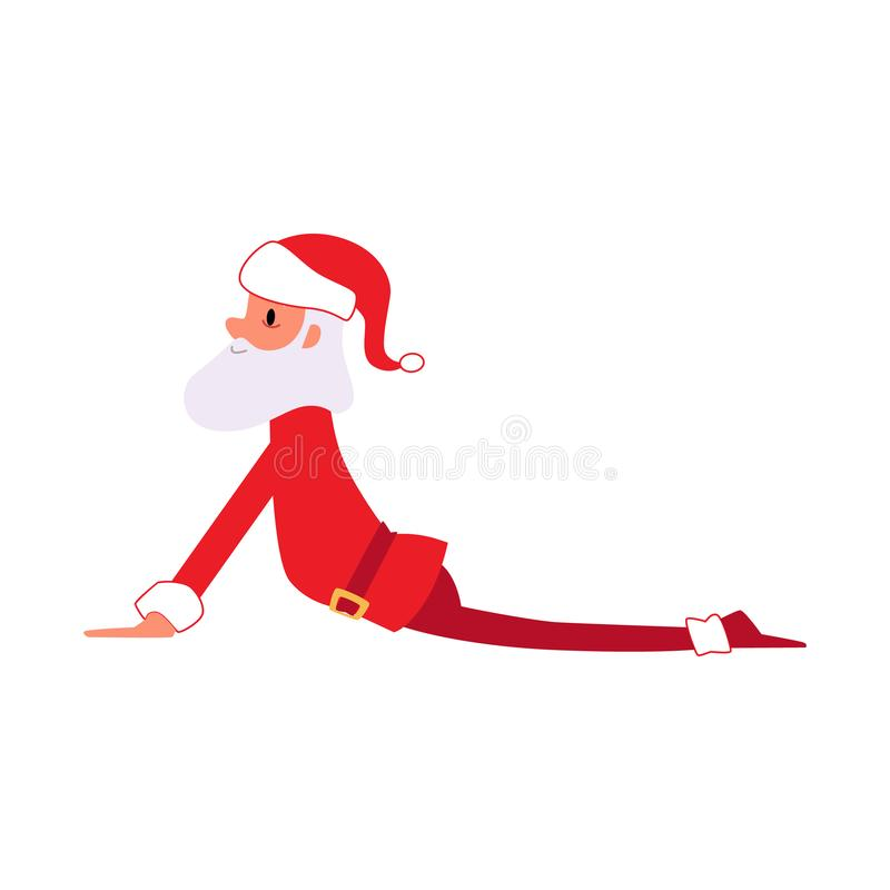 Funny cartoon Santa Claus in yoga pose, Christmas holiday mascot stretching his lower back in cobra position royalty free illustration