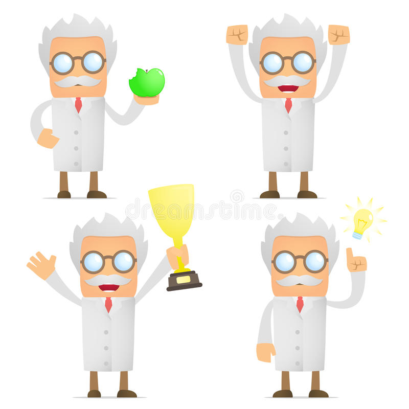 Funny cartoon scientist celebrates victory vector illustration