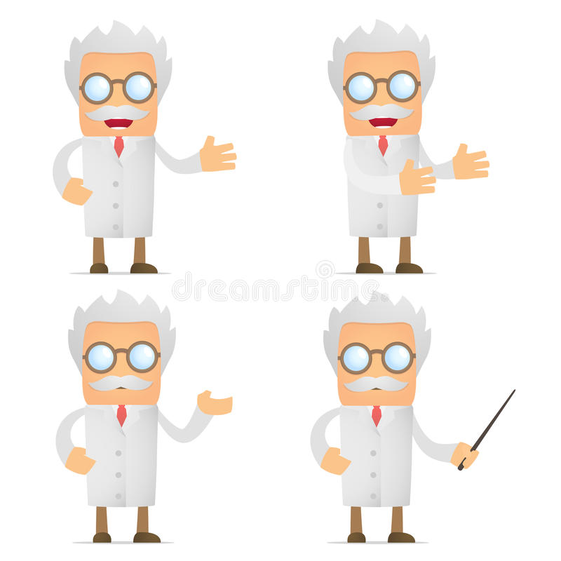 Funny cartoon scientist giving presentation stock illustration