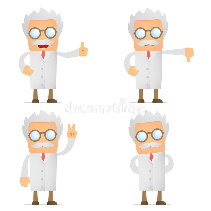 Funny cartoon scientist hold thumb up and down vector illustration