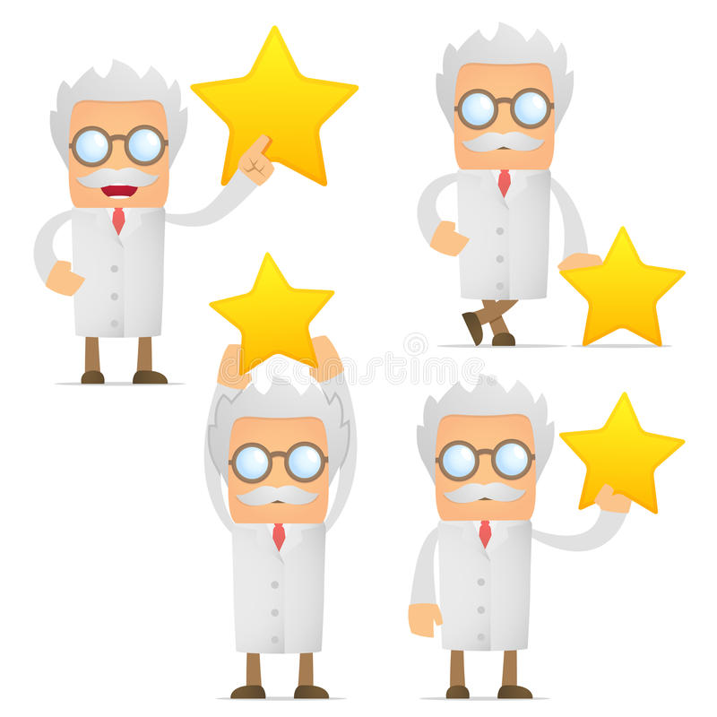 Funny cartoon scientist holding a favorite star royalty free illustration