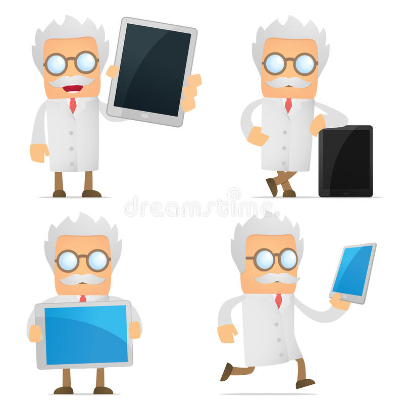 Funny cartoon scientist with a laptop royalty free illustration
