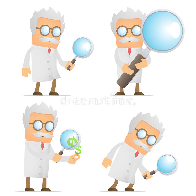 Funny cartoon scientist with magnifying glass royalty free illustration