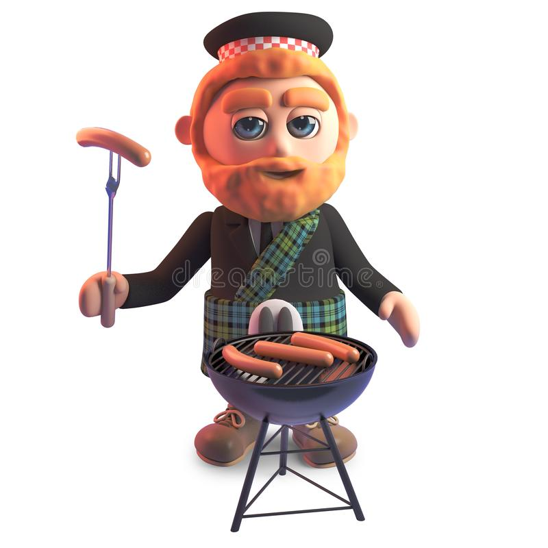 Funny cartoon Scots man cooking a barbecue, 3d illustration. Render stock illustration