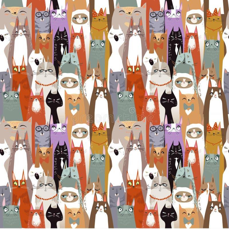 Funny cartoon seamless cats pattern. Funny cute cartoon cats seamless pattern. vector illustration