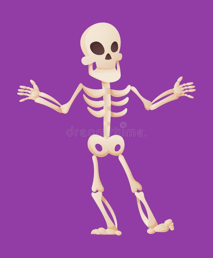 Funny cartoon skeleton spreads his hands. Vector bony character. Human bones illustration skeletal. Dead man on color. Background vector illustration