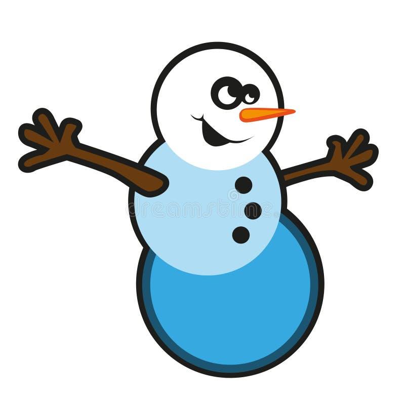 Funny cartoon snow man royalty free stock photography