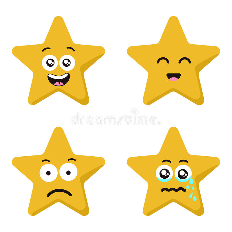Funny cartoon star character emotions set isolated on white stock illustration