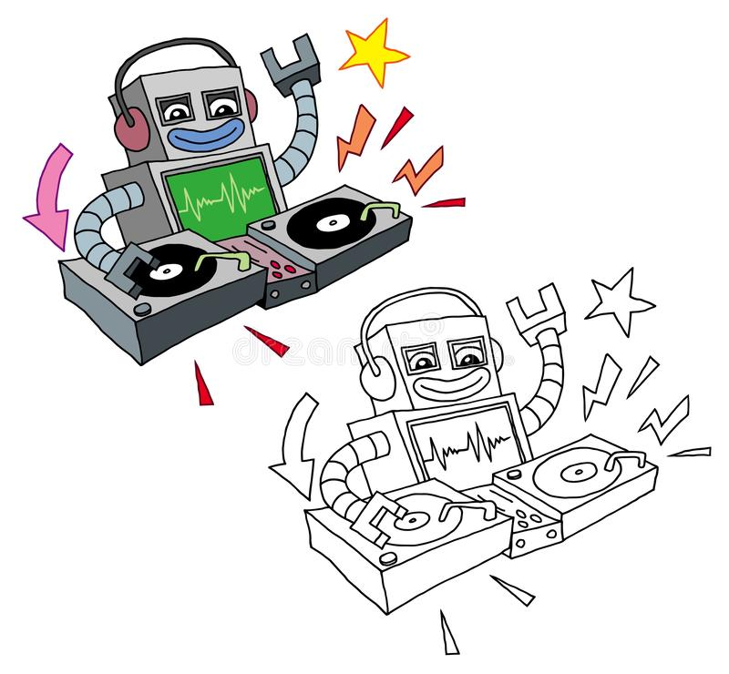 Funny Cartoon style deejay robot playing turntables royalty free illustration