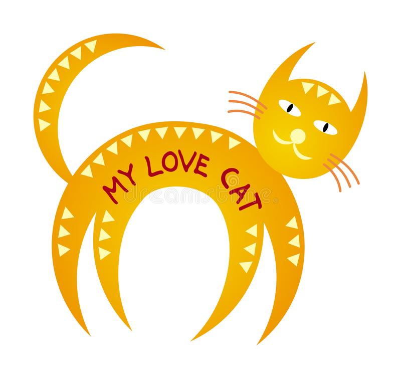 Funny cartoon stylized cat of a round shape. Caption: my love cat. Vector graphics royalty free illustration