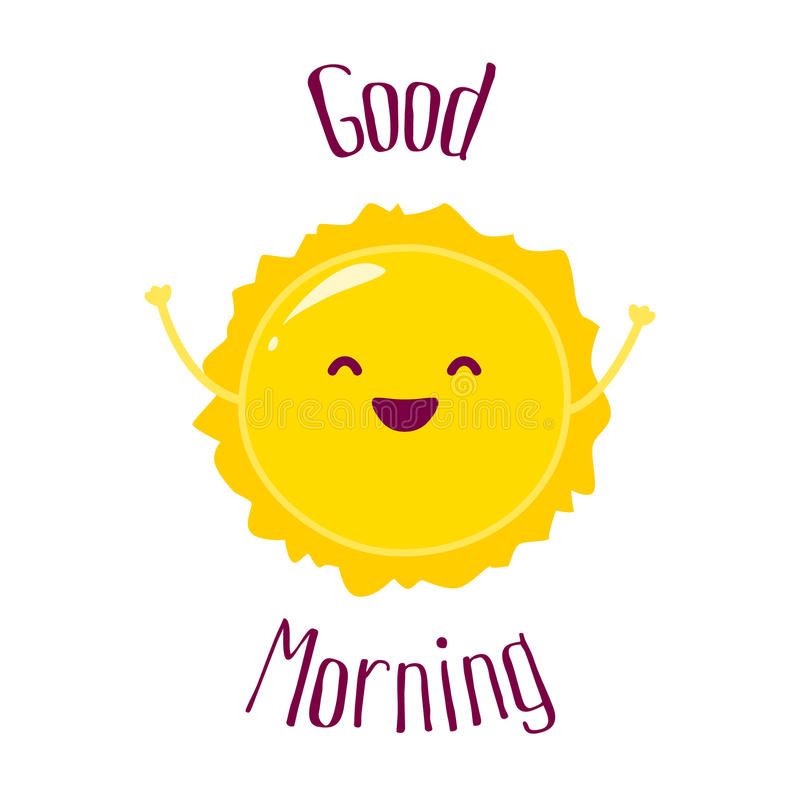 Funny cartoon sun raises hands up and smiles. Good Morning card. Flat style. Vector illustration.  royalty free illustration