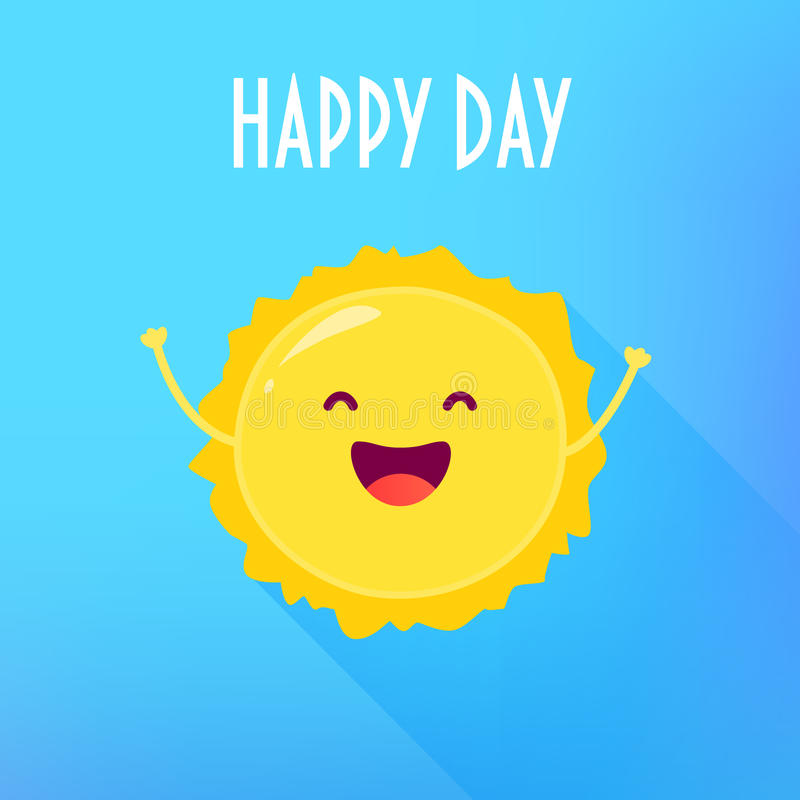 Funny cartoon sun raises hands up and smiles. Happy Day card. Flat style. Vector illustration.  royalty free illustration