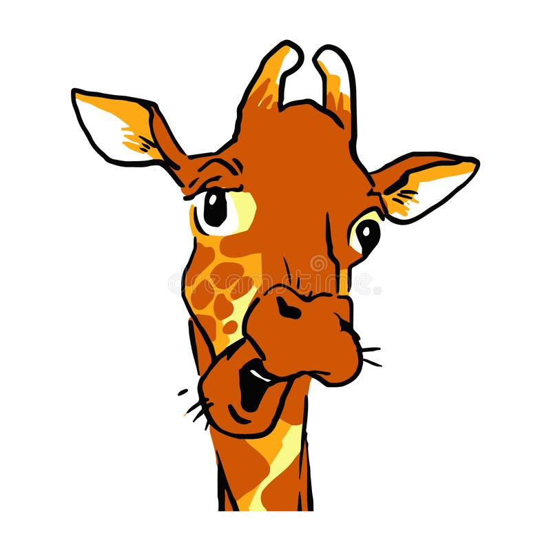 Free Funny Cartoon Talking Giraffe Headshot. Emotion Face Of A Giraffe Stock Photos - 110360583