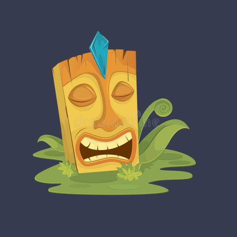 Funny cartoon tiki mask. Vector illustration. Tiki mask on grass. tropic royalty free illustration
