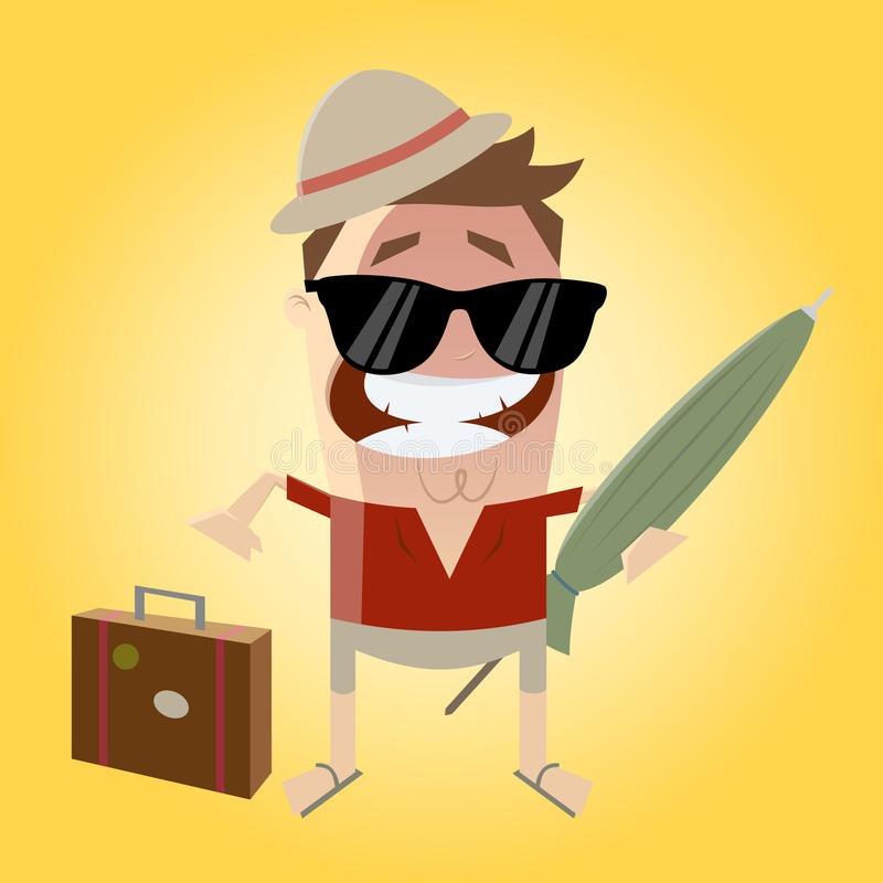 Download Funny cartoon tourist stock vector. Image of drawing - 42100376