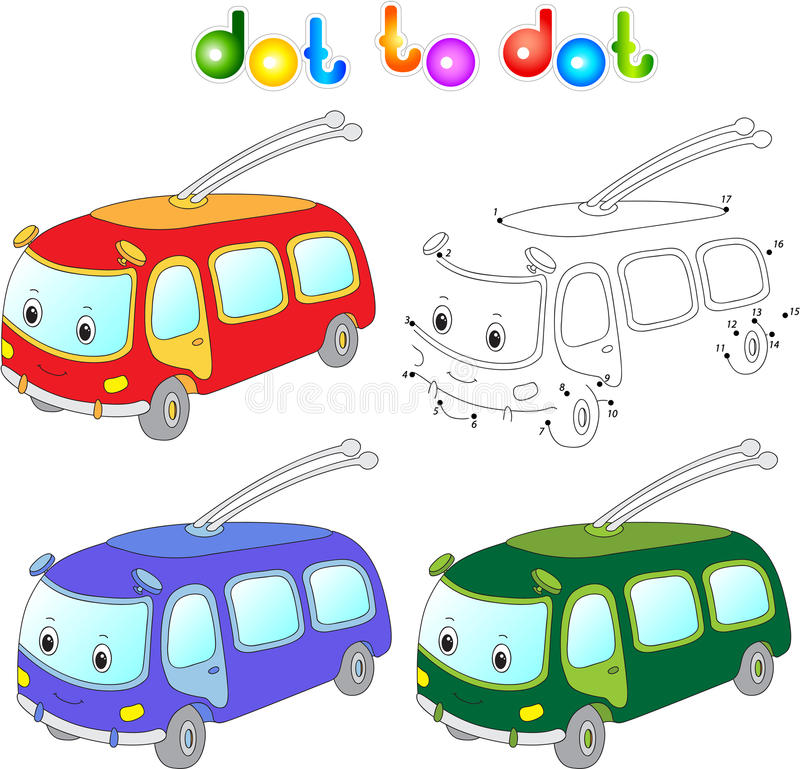 Funny cartoon trolleybus. Connect dots and get image. Educationa. L game for kids. Vector illustration royalty free illustration