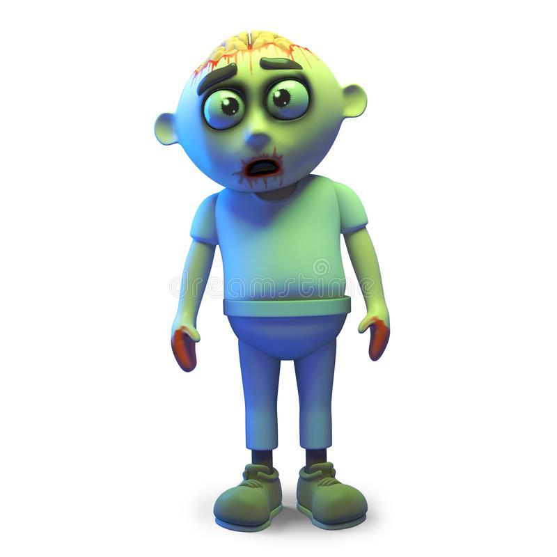 Funny cartoon undead zombie monster stands forlornly, 3d illustration. Render stock illustration