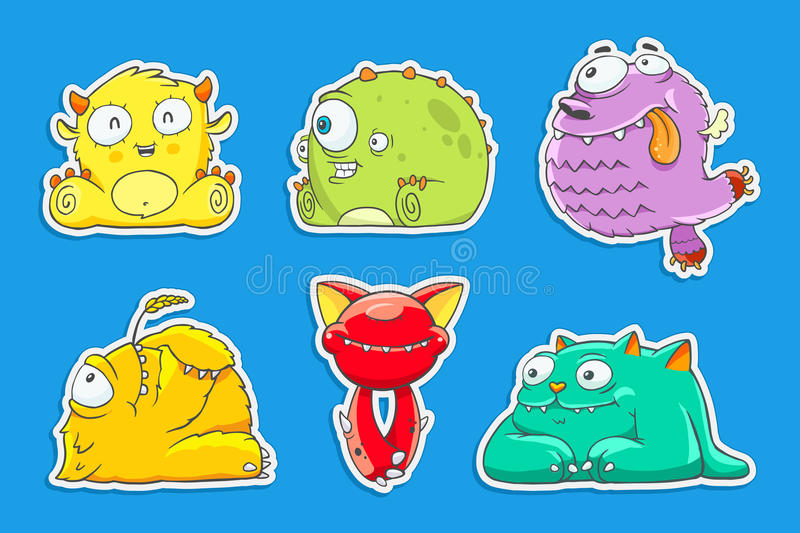 Funny cartoon unusual monsters vector illustration