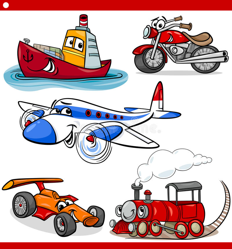 Free Funny Cartoon Vehicles And Cars Set Stock Image - 38432061