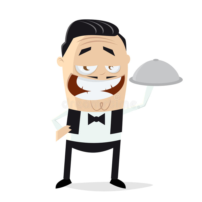 Funny cartoon waiter royalty free illustration