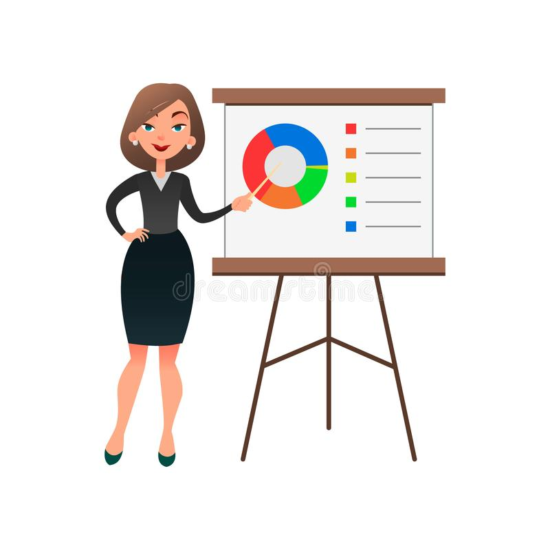 Funny cartoon woman manager presenting whiteboard about financial growth. Young businesswoman making presentation and royalty free illustration