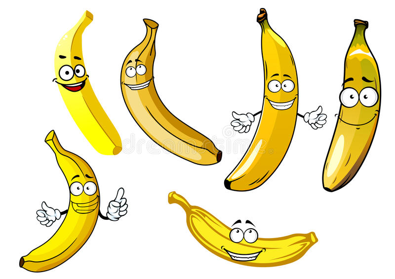 Funny cartoon yellow banana fruits stock illustration