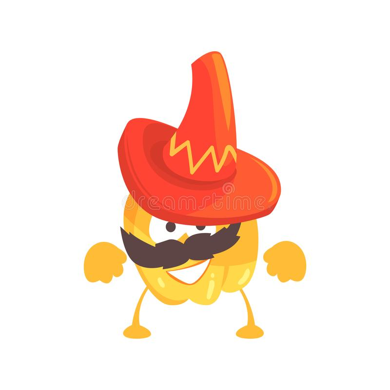 Funny cartoon yellow pepper character wearing sombrero hat, mexican traditional humanized food in traditional clothes stock illustration