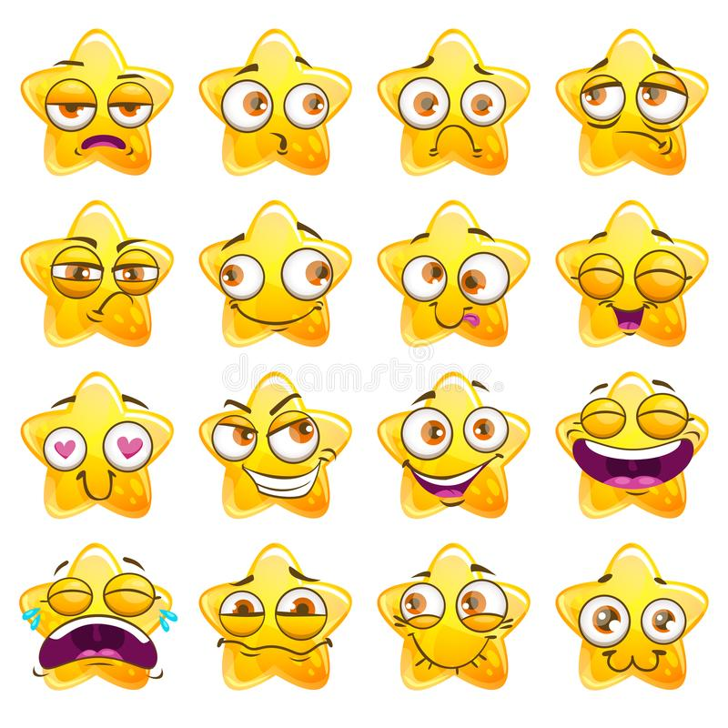 Funny cartoon yellow star character stickers. Vector emoji set. Isolated on white background vector illustration