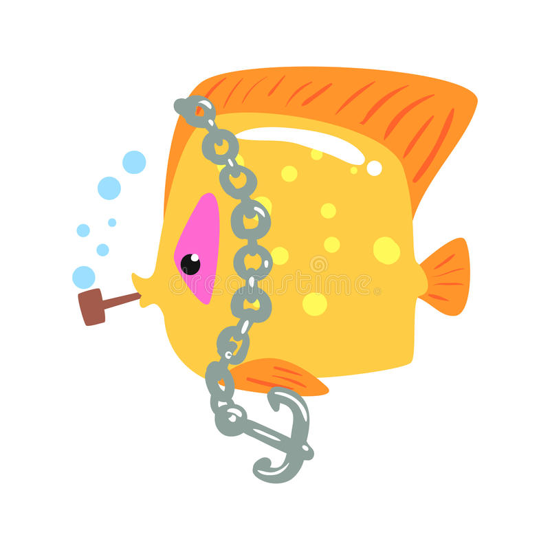 Funny cartoon yellow tang fish with anchor chain colorful character vector Illustration. On a white background stock illustration