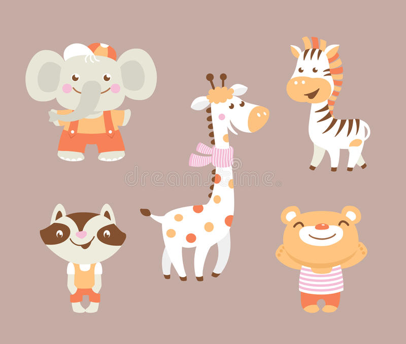 Funny cartoon zoo with bear raccoon zebra giraffe and elephant vector illustration
