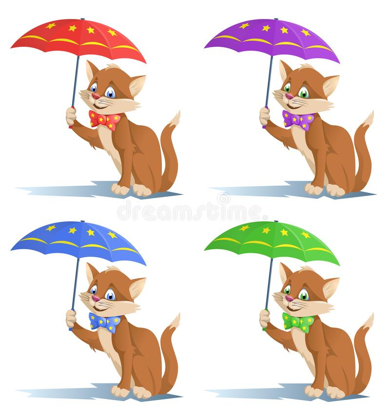 Funny cat in a bow tie with umbrella. vector illustration
