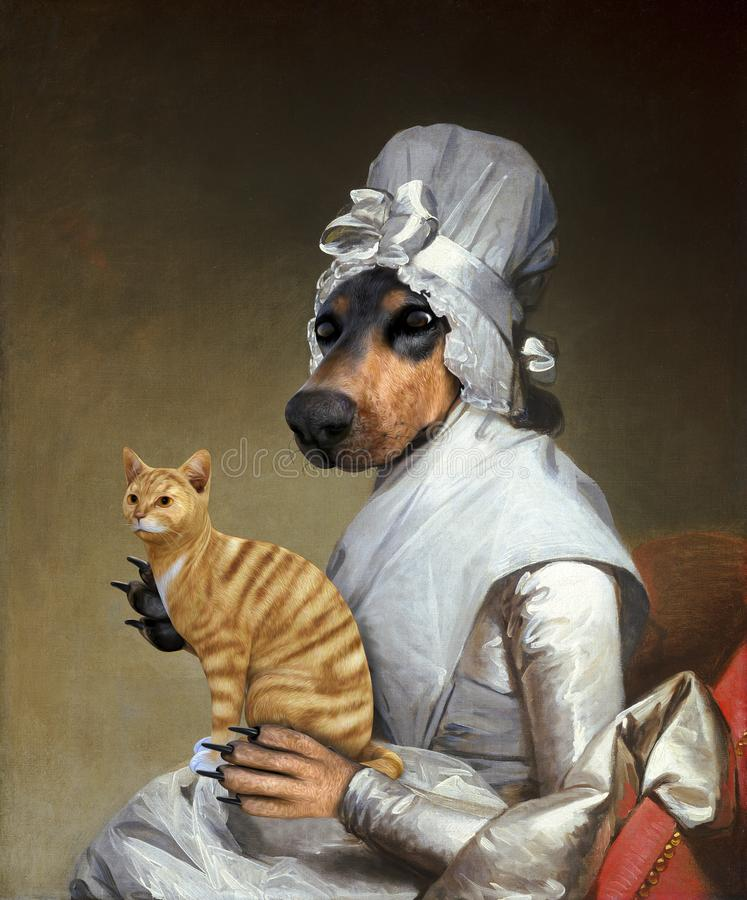 Funny Cat, Dog, Surreal Oil Painting. Funny cat and chamber maid pet animal dog pose in a classic oil art painting spoof. The surreal and fun scene is unique and stock illustration