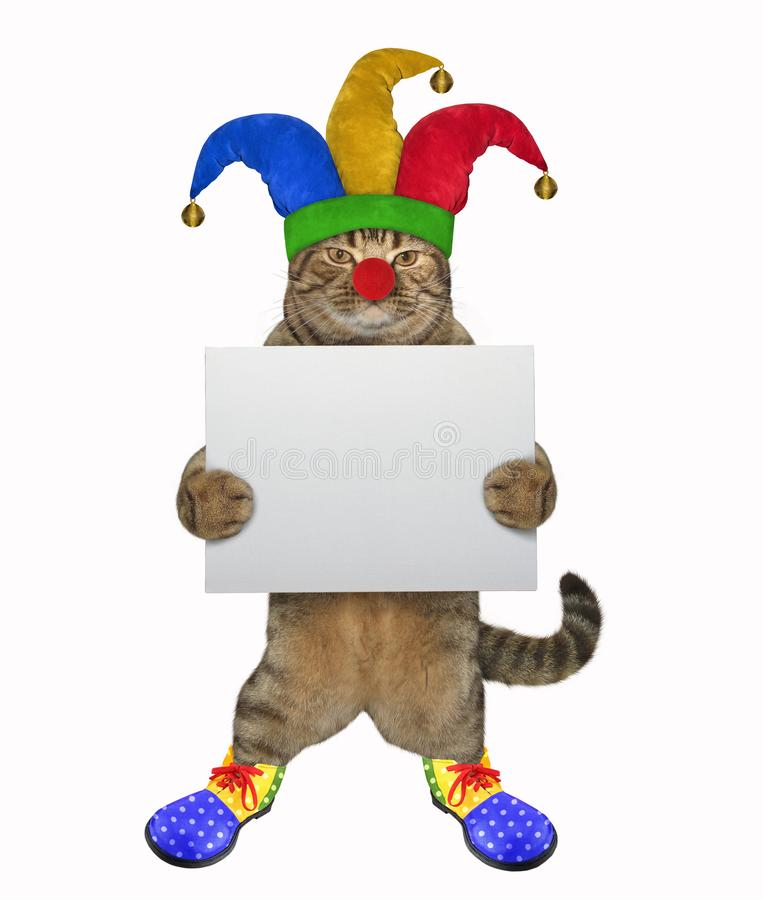 Cat clown with a blank poster stock photography