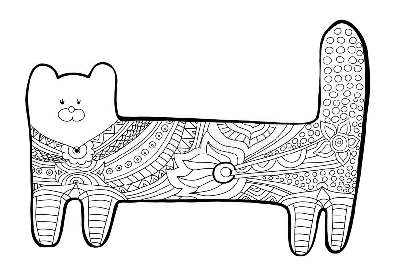 funny cat coloring book for adults black and white pattern with floral patterns - Funny Coloring Books For Adults