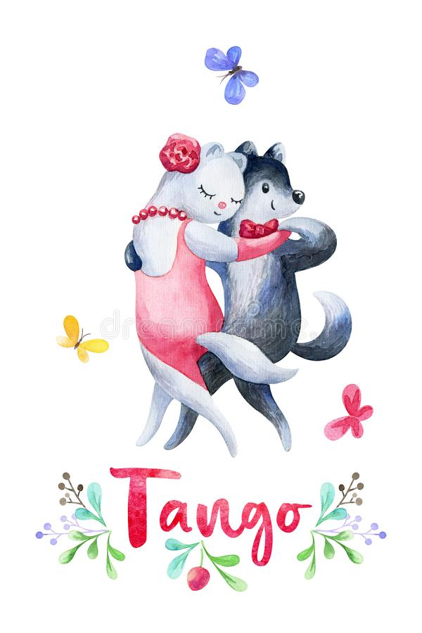 Funny cat and dog dancing tango. Hand painted watercolor illustration isolated on a white background royalty free illustration