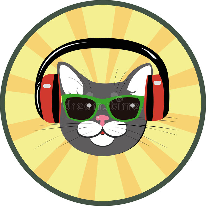 Funny cat with headphones and sunglasses vector illustration
