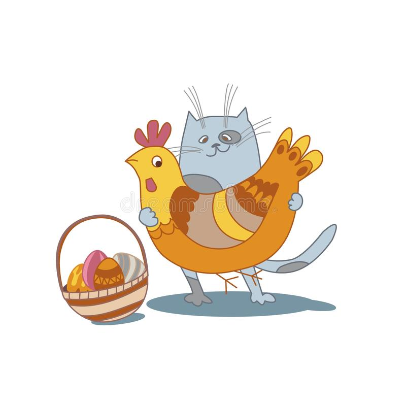 Easter cat with eggs, basket and chcken cartoon style vector illustration on white background stock illustration