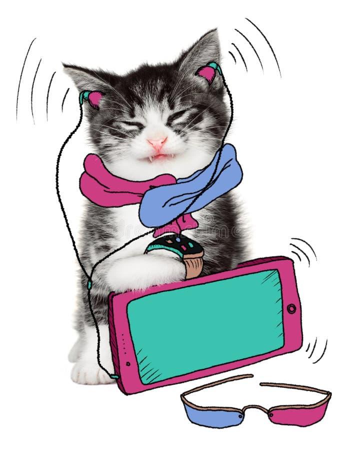 Funny cat loves his gadgets stock illustration