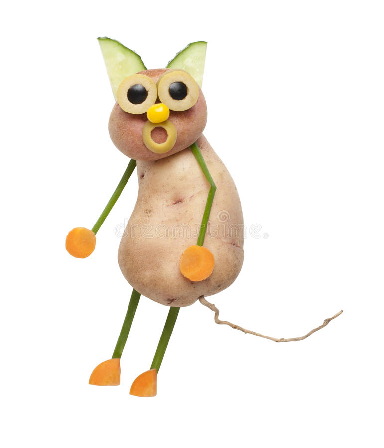 Funny cat made of potatoes. On isolated background stock photography